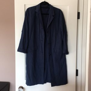 NWOT Uniqlo Linen Cotton Coat - Navy